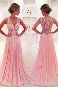 Cheap Pink V-neck Neckline Lace Sleeveless Side Zipper