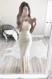 Mermaid Halter Top Sleeveless Lace Zipper Prom Dresses