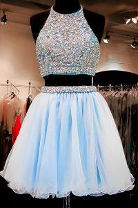 Custom Fit Halter Top Beading Prom Gown Light Blue Backless Sleeveless Mini Length