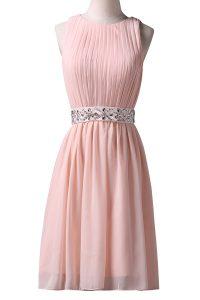 Modern Pink A-line Scoop Sleeveless Chiffon Knee Length Lace Up Beading Evening Dress