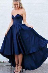 Comfortable Pleated Evening Dress Navy Blue Zipper Sleeveless High Low