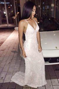 Simple Mermaid Sleeveless Sweep Train Sequins Criss Cross Prom Dresses