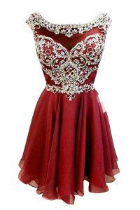 Exquisite Bateau Cap Sleeves Zipper Prom Evening Gown Burgundy Chiffon