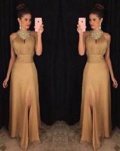 Scoop Gold Sleeveless Floor Length Beading Zipper Dress for Prom