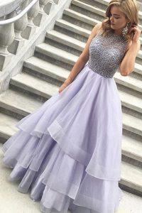 Sophisticated Scoop Sleeveless Zipper Floor Length Beading Evening Dress