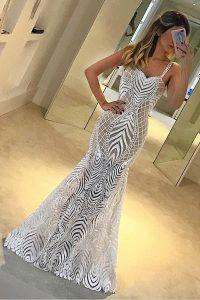 Beautiful Mermaid White Spaghetti Straps Zipper Lace Prom Dress Sleeveless