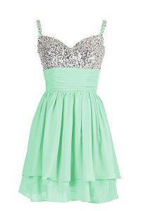 Mini Length Column/Sheath Sleeveless Apple Green Prom Evening Gown Zipper
