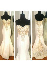 Trendy Mermaid Floor Length White Dress for Prom Elastic Woven Satin Sleeveless Beading and Appliques