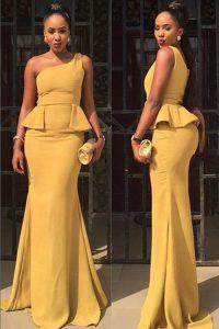 Yellow Mermaid One Shoulder Sleeveless Elastic Woven Satin Floor Length Zipper Ruching Homecoming Dress