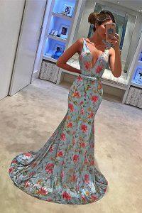 Glamorous Sweep Train Mermaid Prom Dresses Blue V-neck Chiffon Sleeveless With Train Zipper