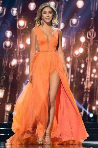 Orange Prom Party Dress V-neck Sleeveless Sweep Train Zipper