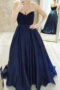 Sweetheart Sleeveless Prom Party Dress Sweep Train Belt Navy Blue Satin