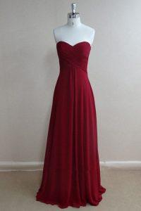 Traditional Burgundy Sleeveless Ruching Floor Length Evening Dress