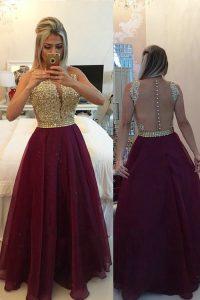 Super Burgundy V-neck Neckline Beading and Appliques Homecoming Dress Sleeveless Zipper
