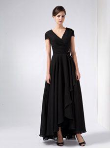 Elegant 2014 Black V-neck Ankle-length Chiffon Mother Dress for Wedding
