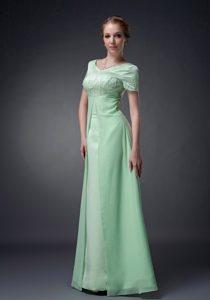 Apple Green V-neck Flattering Short Sleeves Mothers in Law Dress