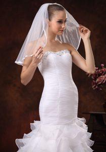 Taffeta Trim Edge Discount Tulle Bridal Veils For Wedding