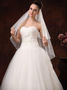 2 Layers Graceful Organza Ribbon Edge Bridal Veils