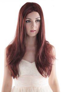 Graceful Auburn Long Silky Straight Human Hair Wig