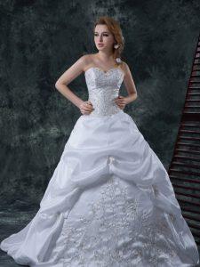 White Column/Sheath Taffeta Sweetheart Sleeveless Beading and Embroidery With Train Lace Up Wedding Gown Brush Train