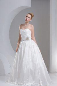 Taffeta Sleeveless Floor Length Wedding Dress and Beading and Ruching