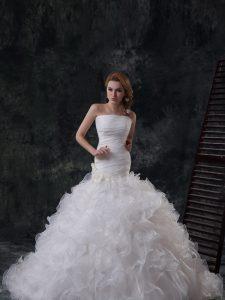 White Organza Lace Up Strapless Sleeveless Wedding Dresses Brush Train Ruffles and Ruching