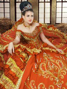 Off the Shoulder Orange Sleeveless Embroidery Floor Length Sweet 16 Dress