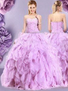Fashion Sleeveless Zipper Floor Length Beading and Ruffles Quinceanera Dresses