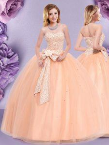 Superior Sleeveless Floor Length Beading and Bowknot Zipper Sweet 16 Dress with Peach