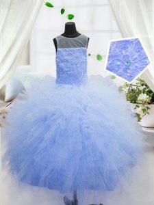 Custom Designed Ball Gowns Child Pageant Dress Baby Blue Scoop Organza Sleeveless Floor Length Zipper