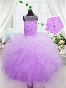 Ball Gowns Little Girls Pageant Gowns Hot Pink Scoop Organza Sleeveless Floor Length Zipper