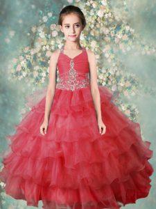 Exceptional Ruffled Floor Length Watermelon Red Little Girls Pageant Gowns Halter Top Sleeveless Zipper