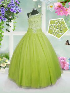 Apple Green Side Zipper Little Girl Pageant Gowns Beading Sleeveless Floor Length