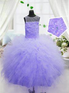 Scoop Floor Length Ball Gowns Sleeveless Purple Winning Pageant Gowns Zipper