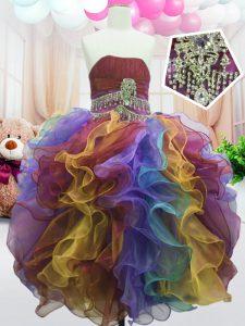 Fitting Sleeveless Beading and Ruffles Zipper Little Girls Pageant Gowns