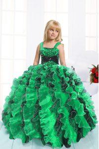Custom Designed Floor Length Green Pageant Dress for Teens Organza Sleeveless Beading and Ruffles