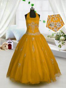 Glamorous Halter Top Orange Sleeveless Appliques Floor Length Little Girls Pageant Dress Wholesale