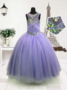 Glittering Organza High-neck Sleeveless Zipper Beading Pageant Dress for Girls in Lavender