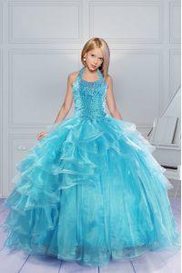 Halter Top Sleeveless Kids Formal Wear Floor Length Beading and Ruffles Aqua Blue Organza