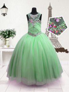 Suitable Ball Gowns Kids Pageant Dress Apple Green Scoop Organza Sleeveless Floor Length Zipper