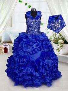 Graceful Royal Blue Ball Gowns Taffeta Halter Top Sleeveless Beading and Ruffles Floor Length Zipper Pageant Dress for T