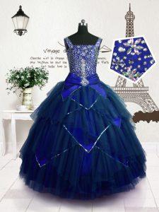 Elegant Straps Sleeveless Lace Up Little Girls Pageant Dress Wholesale Royal Blue Tulle