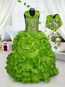 Halter Top Sleeveless Taffeta Little Girls Pageant Dress Beading and Ruffles Zipper