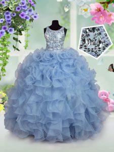 Scoop Ruffles and Sequins Kids Formal Wear Light Blue Zipper Sleeveless Floor Length