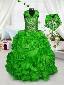 Clearance Ball Gowns Halter Top Sleeveless Taffeta Floor Length Zipper Beading and Ruffles Little Girl Pageant Dress