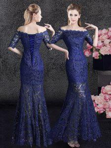 Elegant Mermaid Off the Shoulder Navy Blue Half Sleeves Lace Floor Length Homecoming Dress