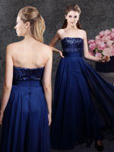 Navy Blue Zipper Dress for Prom Sequins Sleeveless Floor Length
