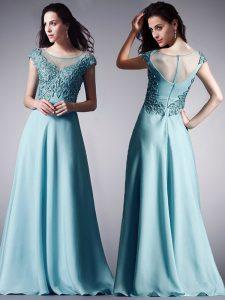 Admirable Ball Gowns Evening Dress Light Blue Scoop Chiffon Cap Sleeves Floor Length Zipper
