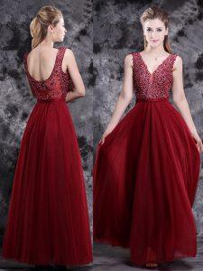 Wine Red V-neck Neckline Beading Dress for Prom Sleeveless Side Zipper