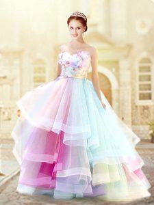 Flirting Multi-color Zipper Sweetheart Ruffled Layers and Hand Made Flower Prom Dress Organza Sleeveless